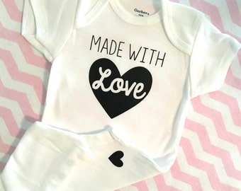 Made with Love Onesie.  Custom Bodysuit with Your Saying. Coming home outfit.  Gold baby romper.