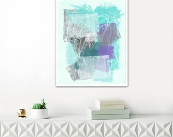 Abstract Mixed Media Painting, Turquoise and Lilac Wall Art, Printable Modern Abstract Print, Original Wall Art