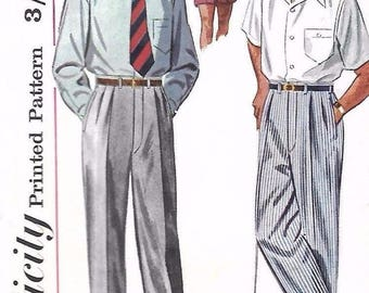 "Vintage 1950s Sewing Pattern Simplicity S.113 Mens Slacks Pants Trousers Shorts Pleats W 34"" RARE"