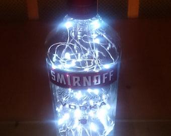 Upcycled Smirnoff Vodka Bottle Lamp. Perfect Mood Lighting Gift For Women. Ideal Boyfriend Gift For Men & Man Caves. Cool Upcycled Lighting
