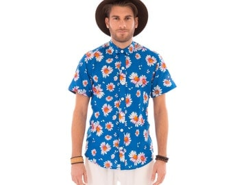 Mens 100% Cotton Short Sleeve Slim Fit Shirt Blue Floral Print