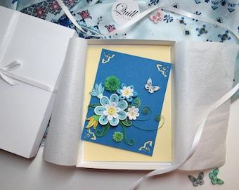 Blue Bouquet Quilling Card