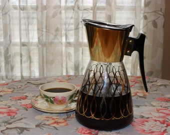 Mid Century Glass 8 cup Coffee Server