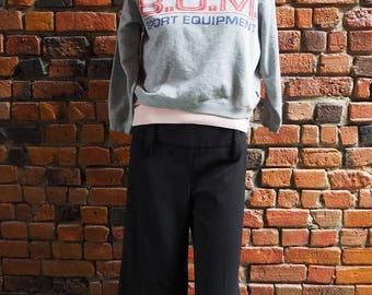 Women's Kids' 80s Gray Bum Sports Equipment Cropped Sweatshirt Sweater Size Small