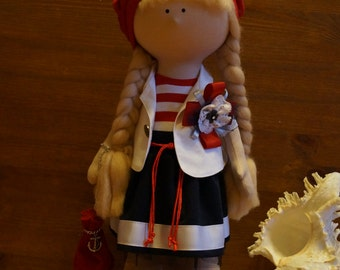 Handmade doll toy Tilda doll Interior doll Art doll red white blue  colors sea