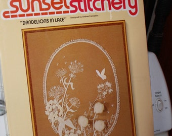Vintage Sunset Stitchery Complete Sealed Dandelions in Lace