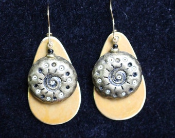 Black and Gold Polymer Clay Earrings
