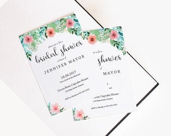 Floral Bridal Shower Invitation Instant Download Bridal Shower Invites Editable Invitation Card Bridal Shower Printable Flower Invitation