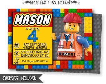 lego birthday invite  etsy, Party invitations