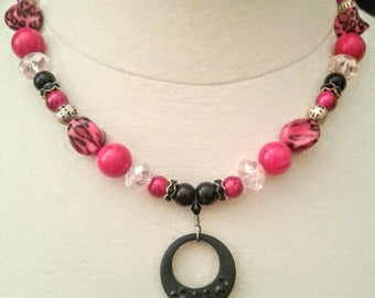 Necklace Set Pink Leopard, Black Onyx and Quartz, Animal Print Jewelry Set, Necklace Bracelet and Earrings, Gemstone Jewelry, For Women