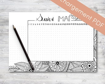 Habit Tracker Printable, May, Planner and Bullet Journal | Printable PDF