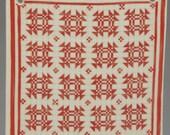 Vintage Hill Designs Goose in the Pond Ceramic Red Quilt