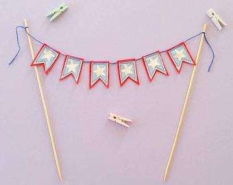 Cake bunting / cake topper bunting / cake toppers / mini felt bunting / birthday cake bunting / bespoke bunting / custom made / boy birthday