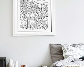 Amsterdam Map, Amsterdam Map Print, Amsterda Print, Amsterdam Poster, Amsterdam, Amsterdam Map Printable, Netherlands Map Print, Holland Map