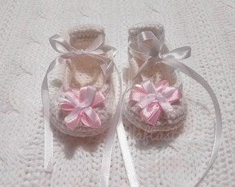 White Crochet Ballerina Shoes