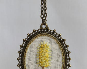 Puya Chilensis Embroidery Necklace Handmade Pendant