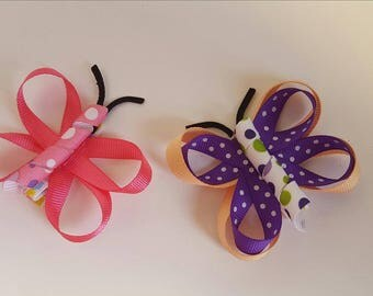 Butterfly ribbon sculpture hair clips.