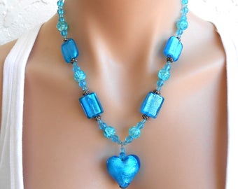 Chunky Necklace Blue Large Big Bold Heart Blue Jewellery Jewelry Handmade Statement Handmade