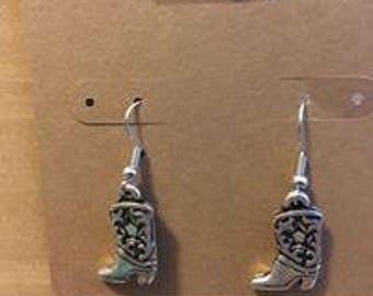 Silver Cowboy Boot Earrings