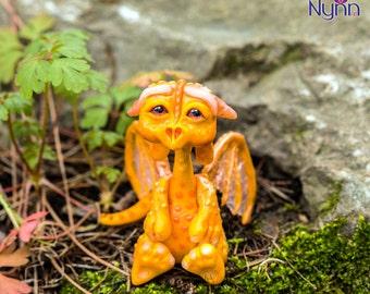 Fli OOAK Dragonling - Orange Dragon Figurine - Polymer Clay Sculpture - Collectible Fantasy Figure