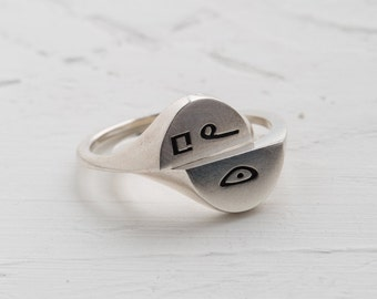 heart ring, akkadian language, sterling silver ring, engraved silver, old script, personal cameo, mantra ring, talisman ring, halved ring