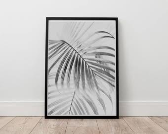 Leaf Print, Palm Leaf Wall Art, Digital Print, Monochrome decor, Botanical Print, Black And White, Scandinavian Poster, Modern Tropical Art