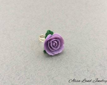 Purple rose ring, Polymer clay jewelry, Flower ring, Polymer clay ring, Violet rose ring, Charm ring, Gift for her, Rose jewelry