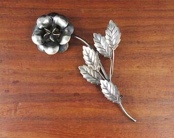 Sterling Silver Rose Brooch - Vintage