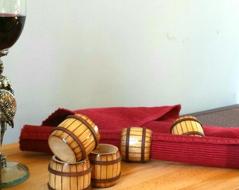 Wooden mini barrel napkin ring holders