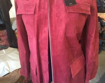 Brand new red suede leather jacket. Womens leather jacket
