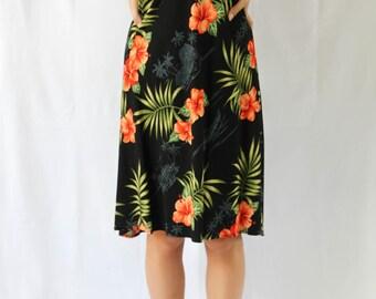 midi length hawaiian printed singlet dress