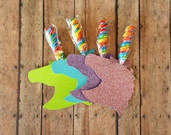 Unicorn Party Favors, Unicorn Lollipop Birthday Favors, Unicorn Horn, My Little Party Rainbow Dessert Table and Candy Buffet, Set of 12