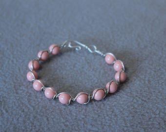 Becca Sterling Silver Coral Swarovski chunky bead bracelet