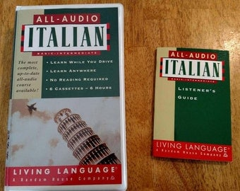 All-Audio Italian language learning cassette tapes,