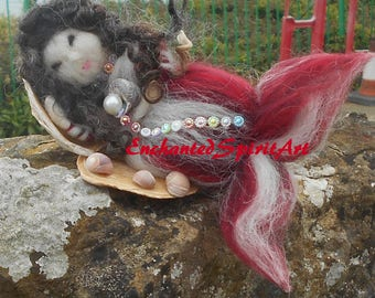 "Mermaid ""Scarlet"" Waldorf Inspired Needle Felted of 100% Merino Wool"