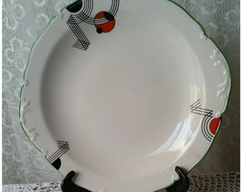 Vintage Art Deco Plate Entree Plate Cake Serving Plate Tableware Midwinter Pattern