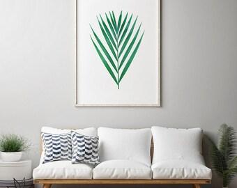Leaf print, Modern art, Digital print, Tropical leaf, Wall art, Printable wall art, printable art, Palm art print, Leaf art, Botanical Print
