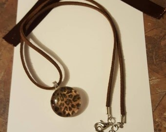 Brown Cheetah Print/ suede necklace/pendant