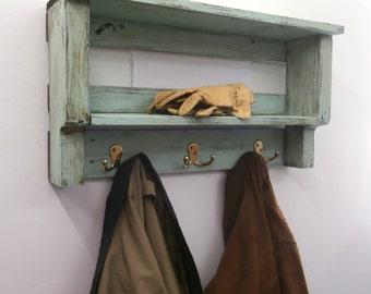Beach Decor Coat Rack With Hooks – Rustic Coastal Decor Shelves – Pallet Wood Nautical Shelves – 3 Hook Wooden Coat Rack With Shelves