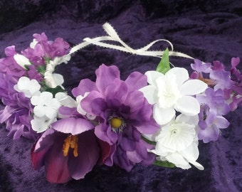 Bohemian Purple and White Flower Crown ~ Silk Flowers ~ Wedding Accessory ~ Special Occasions ~ Hairpiece ~ Purple, Violet, White, Green