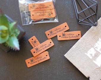 Personalisierte Etiketten-Set von 10 / Branding Tags für handgemachte / Branding Borte / Lederwaren Etikett / Leder-Patches / / Handwerk Label Tag