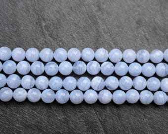 6mm Blue Lace Agate Beads, Round, Natural - Half or Full Strand, Blue Beads, 6mm beads, Natural Gemstone, Round Beads