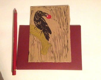 Lino printed cards, crow and cherry