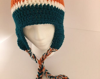 Miami Dolphins Winter hat with braids and pompoms -
