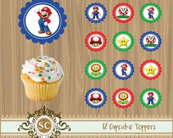12 Mario Bros Cupcake Toppers Nintendo Printables Instant Download