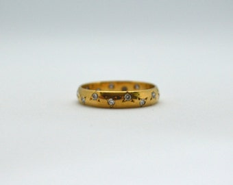 Vintage Constellation Diamond Wedding Band 18k Yellow Gold