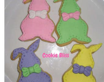 12 Pastel Easter Bunnies Heart Cookies Easter Gifts Baked Goods Sugar Cookies Handmade Cookies Decorated Cookies  Easter Gifts Edible Foods