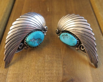 Turquoise Feather Earrings Vintage Southwest Navajo Native American Artisan Jewelry