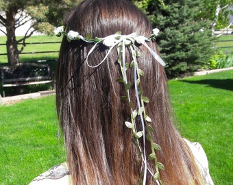 Flower wreath bridesmaid flower girl hair wreath headband fairy wedding