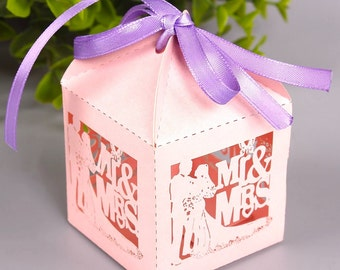 100 DIY Wedding Favor Boxes/Mr and Mrs/Wedding Gift Box for Guests/Mr & Mrs Favors/Elegant Favor Boxes/Bride and Groom Gift Boxes/DIY Favors